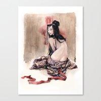 geisha Canvas Prints featuring Geisha by carlations: Carla Wyzgala illustrations