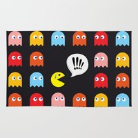 pac man Area & Throw Rugs featuring Pac-Man Trapped by Psocy Shop