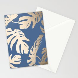 Simply Tropical Palm Leaves White Gold Sands on Aegean Blue Stationery Cards