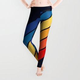 Medussa - Classic Colorful 70s Vintage Style Retro Summer Stripes Leggings