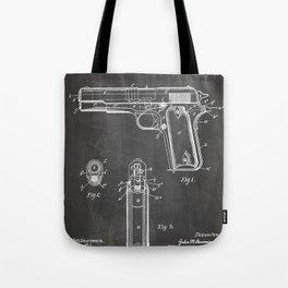 Colt Pistol Patent - Browning 1911 Colt Art - Black Chalkboard Tote Bag