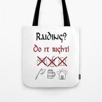 vikings Tote Bags featuring Raiding 1, Vikings by ZsaMo Design