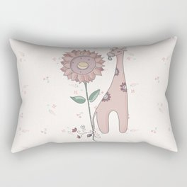 la giraffa e il girasole Rectangular Pillow
