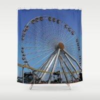ferris wheel Shower Curtains featuring Ferris Wheel  by CharlieRae