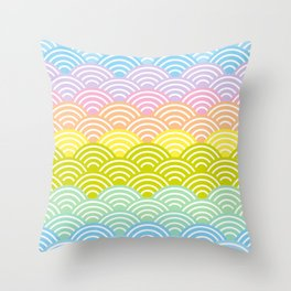 Seigaiha or seigainami literally means blue wave of the sea. rainbow pattern abstract scale Throw Pillow