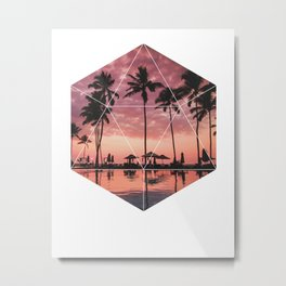SUNSET PALMS- Geometric Photography Metal Print