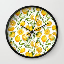 lemon watercolor print Wall Clock