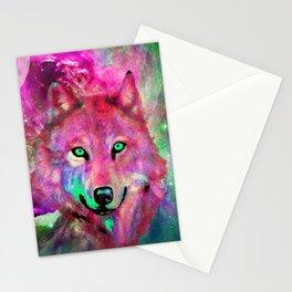 NEBULA WOLF OF MY DREAMS PINK Stationery Cards