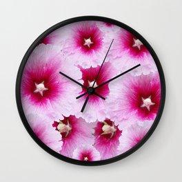 FUCHSIA-PINK HOLLYHOCK  FLOWER PATTERNS Wall Clock