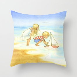 Children playing at the beach - Artwork that re-visits your favorite childhood memories Throw Pillow