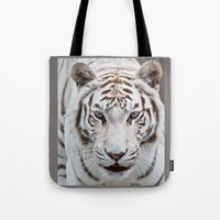 tiger Tote Bags featuring TIGER TIGER by Catspaws