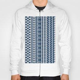 African Tribal Geometric Pattern Mud Cloth Blue Hoody