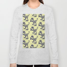 Tipsy Velociraptor with Beer Pattern Long Sleeve T-shirt