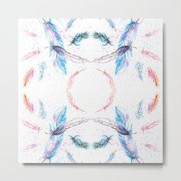 Watercolor Feathers Pattern Metal Print