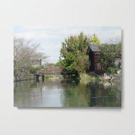 old building and bridge in yanagawa Metal Print