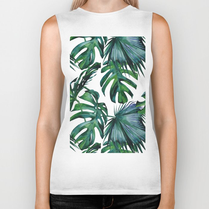 Tropical Palm Leaves Classic Biker Tank