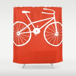 Red Bike by Friztin Shower Curtain