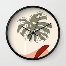 Minimal Line Monstera Wall Clock