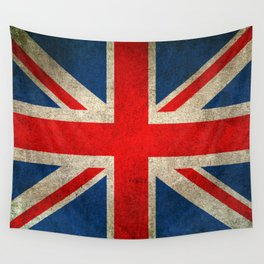 Old and Worn Distressed Vintage Union Jack Flag Wall Tapestry
