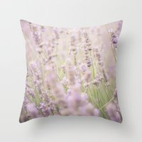 lavender Throw Pillows featuring lavender by Sarah Brust