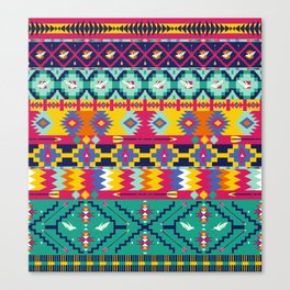Seamless colorful aztec pattern with birds Canvas Print