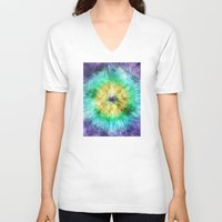tie dye V-neck T-shirts featuring Colorful Tie Dye Graphic by Phil Perkins