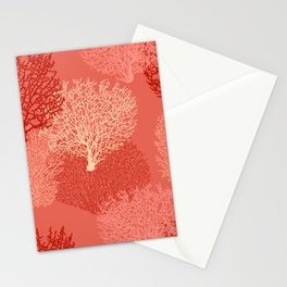 Fan Coral Print, Shades of Coral Orange Stationery Cards