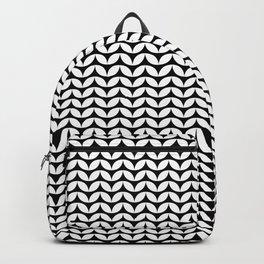 Black & White Leaf Petals Pattern Backpack