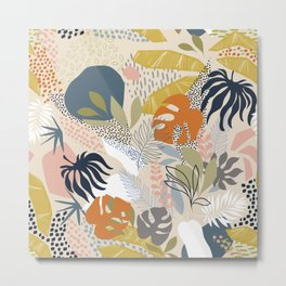 Tropical Foliage Pattern 1 - Retro Boho Metal Print