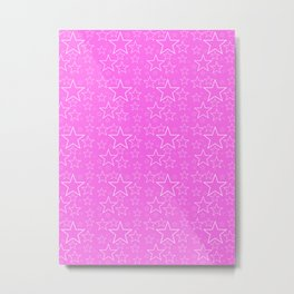 White and Pink Stars Metal Print