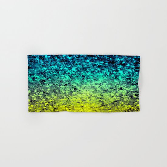 OMBRE LOVE Bold Beautiful Starry Night Glitter Abstract Painting Midnight Blue Mint Turquoise Yellow Hand & Bath Towel