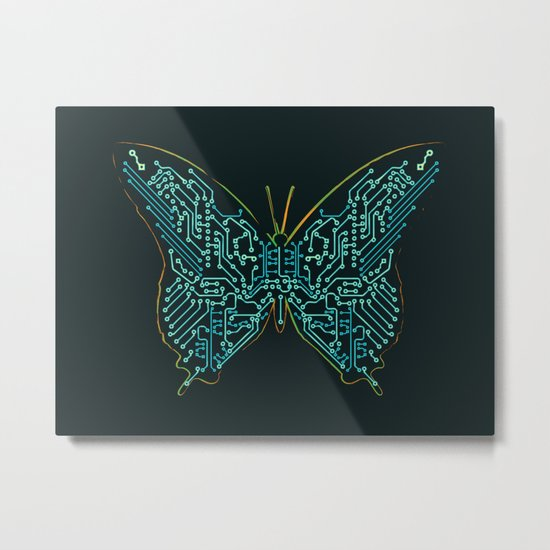 Mechanical Butterfly Metal Print