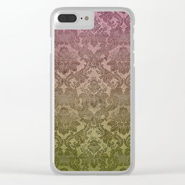 Vintage Pastel Pink and Green Damask Pattern Clear iPhone Case