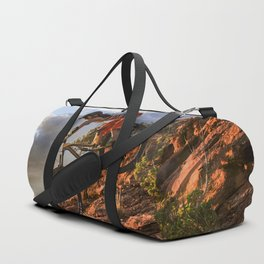 Mountain Bike in Rugged Mountain Terrain in Sunbeams Duffle Bag
