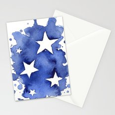 Stars Abstract Blue Watercolor Geometric Painting Stationery Cards