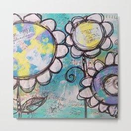 Aqua Flower Doodles Drawing Metal Print