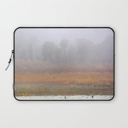 Wild ducks and cormorants at foggy sunrise  Into the foggy lake Laptop Sleeve