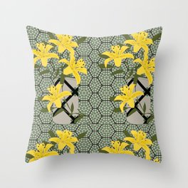 yellow lilies Throw Pillow