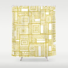 Golden Doodle patchwork Shower Curtain