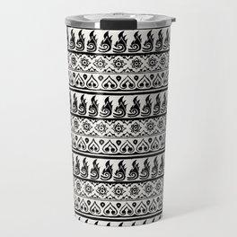 Thai Fabric Patterns - Black and White Travel Mug