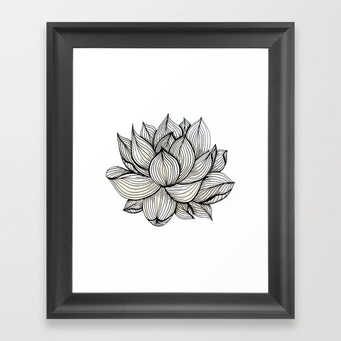 Lotus Flower Black And White Nature Organic Design Drawing Abstract Unique Lines Pattern Framed Art Print By Treelovergirl