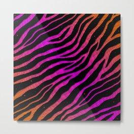 Ripped SpaceTime Stripes - Orange/Pink Metal Print