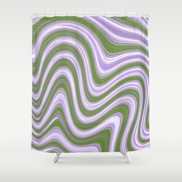 Genderqueer Pride Thin Layered Curving Stripes Shower Curtain