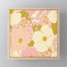 Pink Pastel Vintage Floral Pattern Framed Mini Art Print