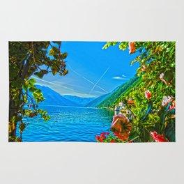 Flower-framed Lake Como Rug