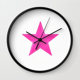 Pink Star on White Wall Clock
