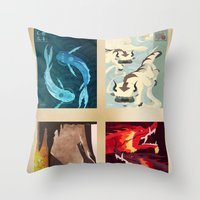 airbender Throw Pillows featuring Original Bending Masters Series by miss-meza