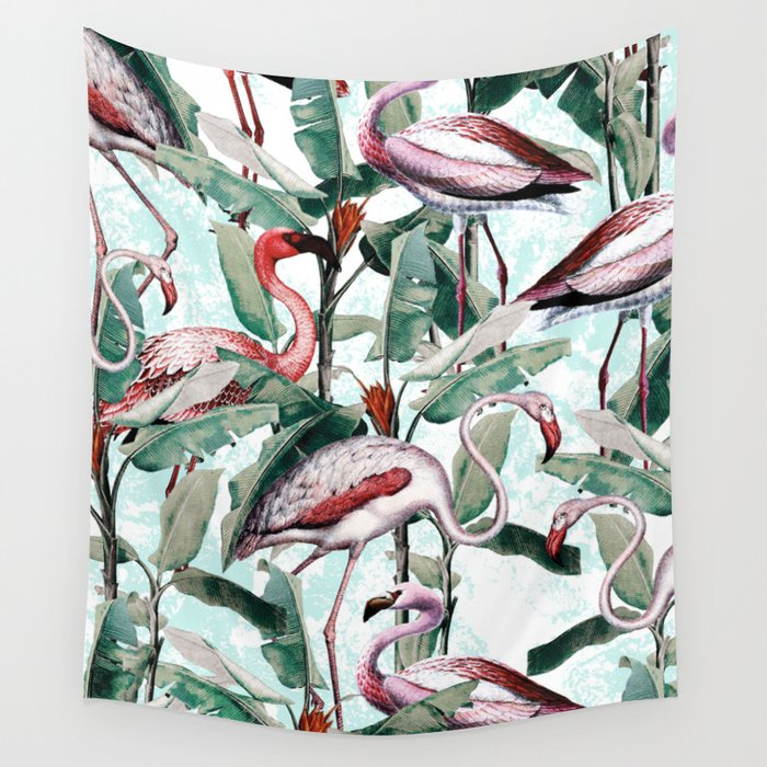 Floral and Flamingo VIII Wall Tapestry
