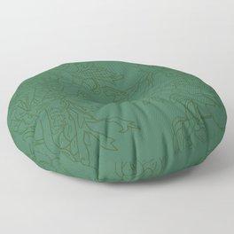 Floral Ink - Emerald & Olive Ranunculus Floor Pillow