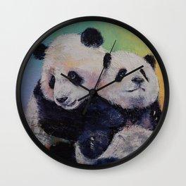 Panda Hugs Wall Clock